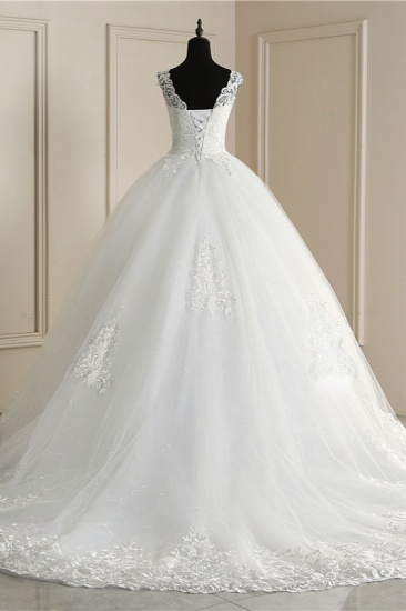 BMbridal Elegant V-Neck Tull Lace White Wedding Dress Sleeveless Appliques Bridal Gowns On Sale_3