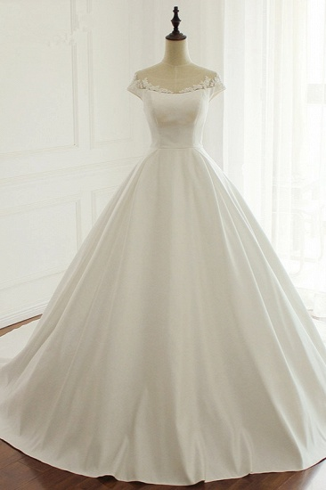 Simple A-Line Satin Jewel Ruffle Wedding Dress Tulle Lace Appliques Sleeveless Bridal Gowns On Sale_1