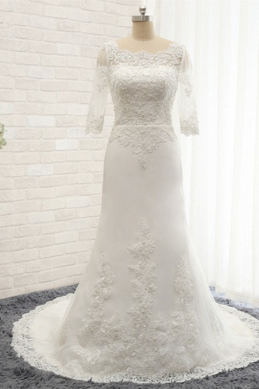 Affordable Jewel White Tulle Lace Wedding Dress Half Sleeves Appliques Bridal Gowns Online_1