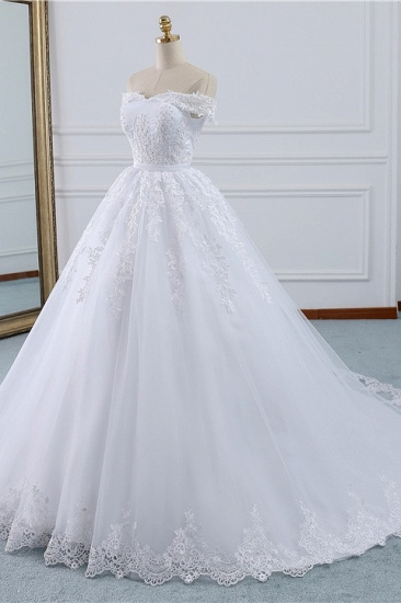 BMbridal Affordable White Off-the-shoulder Lace Wedding Dresses With Appliques Tulle Ruffles Bridal Gowns On Sale_4