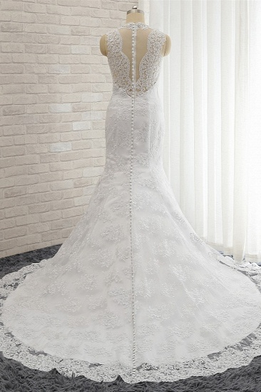 Chic Mermaid V-Neck Lace Wedding Dress Appliques Sleeveless Beadings Bridal Gowns On Sale_3