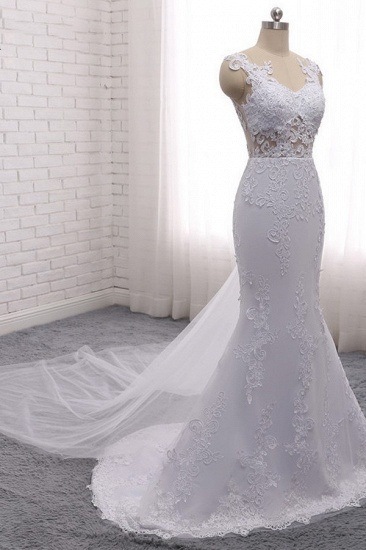 BMbridal Stylish Jewel Mermaid Lace Appliques Wedding Dress White Sleeveless Beadings Bridal Gowns with Overskirt On Sale_5