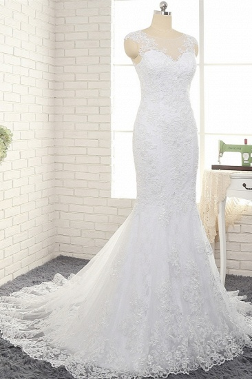 BMbridal Gorgeous White Mermaid Lace Wedding Dresses With Appliques Jewel Sleeveless Bridal Gowns Online_4