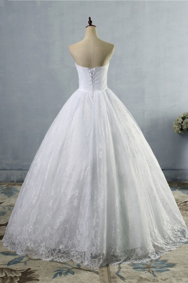 BMbridal Stylish Tulle Appliques Ball Gown Wedding Dresses Sweetheart Sleeveless Bridal Gowns with Beading Sash_3
