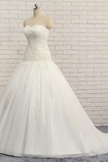 BMbridal Glamorous Strapless Tulle Lace Wedding Dress Sweetheart Sleeveless Bridal Gowns with Appliques On Sale_4
