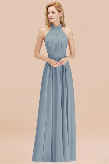 Gorgeous High-Neck Halter Backless Bridesmaid Dress Dusty Rose Chiffon Maid of Honor Dress_40