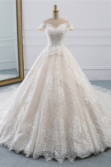 Luxury Ball Gown Off-the-Shoulder Lace Wedding Dress Sweetheart Sleeveless Appliques Bridal Gowns On Sale_1