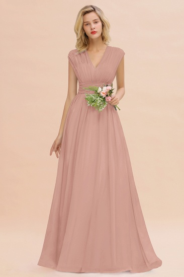 Elegant Chiffon V-Neck Ruffle Long Bridesmaid Dresses Affordable_6