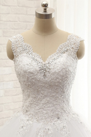 BMbridal Chic Straps V-Neck Tulle Lace Wedding Dress Sleeveless Appliques Beadings Bridal Gowns On Sale_5