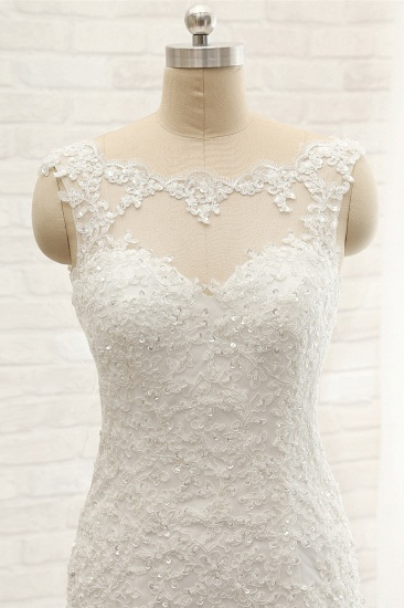 Gorgeous Sleeveless Appliques Beadings Wedding Dress Jewel Tulle White Bridal Gowns On Sale_5