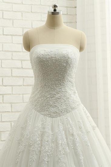 BMbridal Gorgeous Bateau White Tulle Wedding Dresses A line Ruffles Lace Bridal Gowns With Appliques Online_5