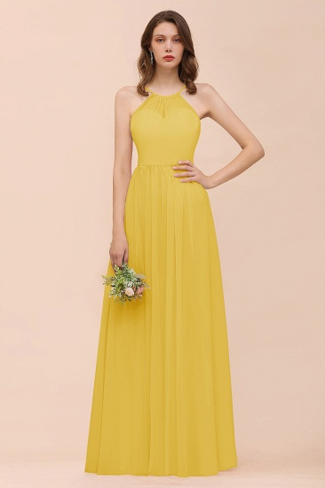 BMbridal Gorgeous Chiffon Halter Ruffle Affordable Long Bridesmaid Dress_17
