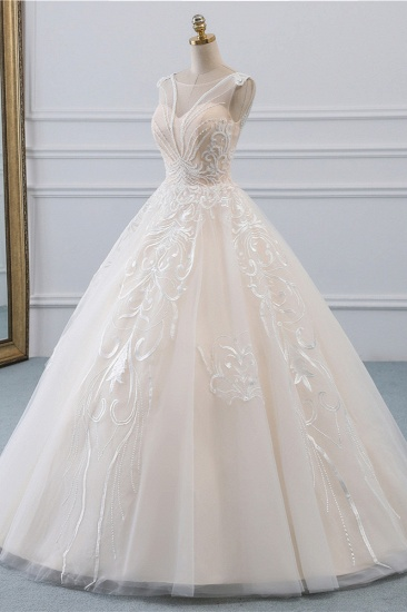 BMbridal Glamorous Sleeveless Jewel Pink Wedding Dresses Tulle Ruffles Bridal Gowns With Appliques Online_4