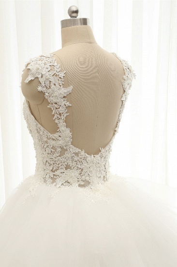 Chic Straps Sleeveless Tulle Wedding Dresses With Appliques White A-line Bridal Gowns Online_6