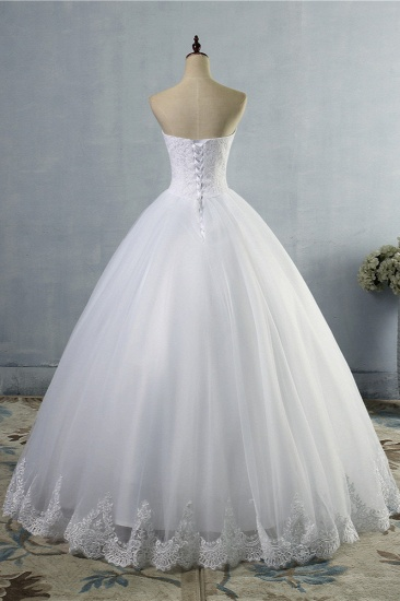 Affordable Strapless Sweetheart Tulle Wedding Dress Sleeveless Lace Appliques Bridal Gowns On Sale_3