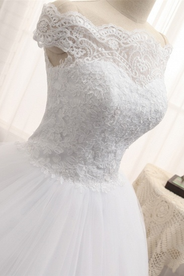 Modest Bateau Tulle Ruffles Wedding Dresses With Appliques A-line White Lace Bridal Gowns On Sale_5