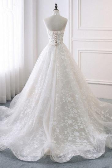 BMbridal Elegant A-Line Halter Tulle White Wedding Dress Sleeveless Appliques Bridal Gowns On Sale_3