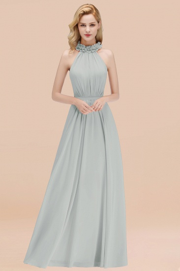 Modest High-Neck Halter Ruffle Chiffon Bridesmaid Dresses Affordable_38