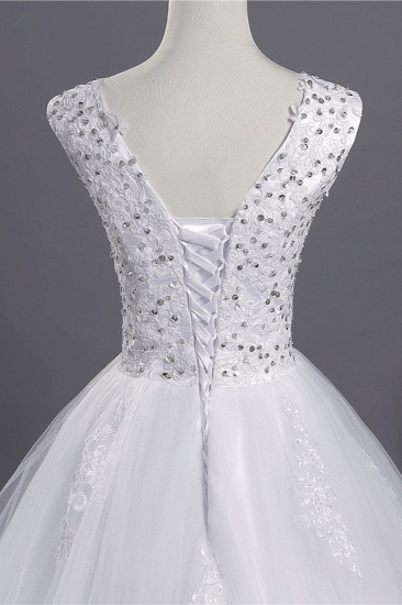 BMbridal Glamorous V-Neck Sequins White Tulle Wedding Dress Sleevels Lace Appliques Bridal Gowns On Sale_4