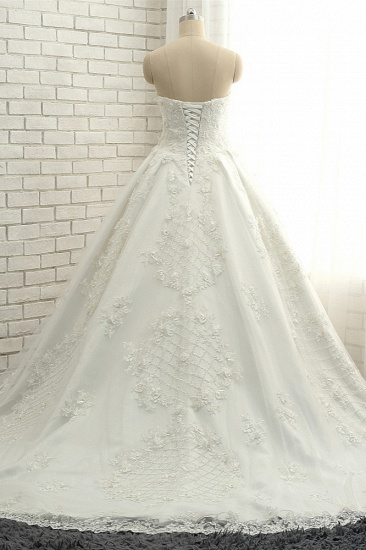 BMbridal Glamorous Sweetheart A-line Tulle Wedding Dresses With Appliques White Ruffles Lace Bridal Gowns  Online_3
