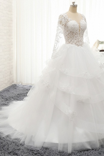 Glamorous Longlseeves Tulle Ruffles Wedding Dresses Jewel A-line White Bridal Gowns With Appliques On Sale_4