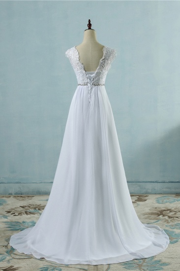 Affordable Chiffon Jewel Lace Ruffles Wedding Dress Sleeveless Appliques Bridal Gowns with Beading Sash_3