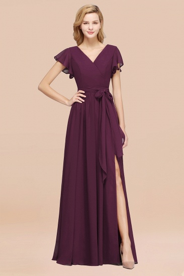 BMbridal Burgundy V-Neck Long Bridesmaid Dress With Short-Sleeves_20
