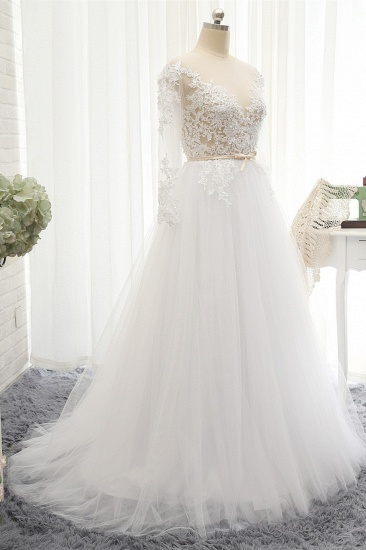 Affordable White Tulle Ruffles Lace Wedding Dresses Jewel Longsleeves Bridal Gowns With Appliques On Sale_4
