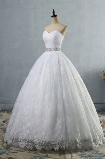 BMbridal Stylish Tulle Appliques Ball Gown Wedding Dresses Sweetheart Sleeveless Bridal Gowns with Beading Sash_4