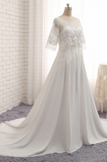 Modest Halfsleeves White Jewel Wedding Dresses Chiffon Lace Bridal Gowns With Appliques On Sale_4