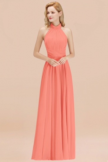 Gorgeous High-Neck Halter Backless Bridesmaid Dress Dusty Rose Chiffon Maid of Honor Dress_45