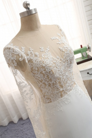 Chic Jewel White Chiffon Lace Wedding Dress Long Sleeves Applqiues Bridal Gowns On Sale_5