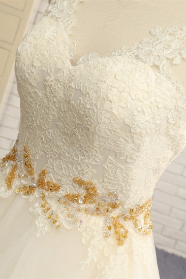 Gorgeous Jewel Sleeveless A-Line Tulle Wedding Dress Lace Appliques Bridal Gowns with Beadings_5
