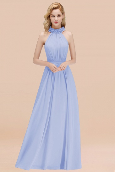 Modest High-Neck Halter Ruffle Chiffon Bridesmaid Dresses Affordable_22