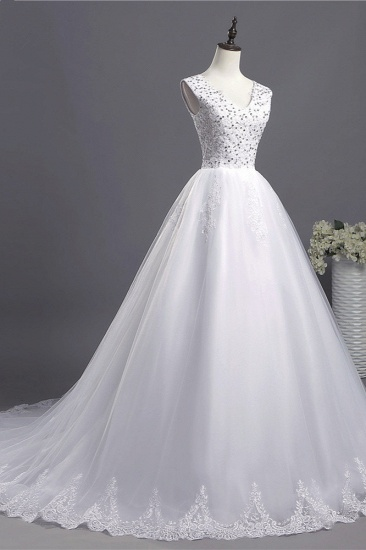 BMbridal Glamorous V-Neck Sequins White Tulle Wedding Dress Sleevels Lace Appliques Bridal Gowns On Sale_6