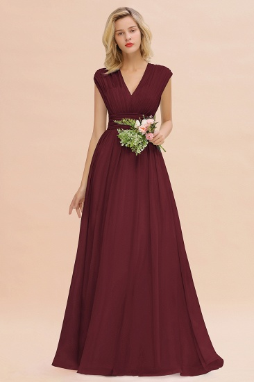 Elegant Chiffon V-Neck Ruffle Long Bridesmaid Dresses Affordable_10