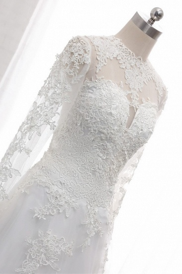 Modest Jewel White Tulle Lace Wedding Dress Long Sleeves Appliques A-Line Bridal Gowns On Sale_7