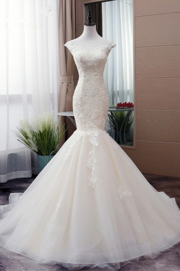 Glamorous Jewel Tulle Mermaid Iovry Wedding Dress Lace Appliques Sleeveless Bridal Gowns On Sale_1