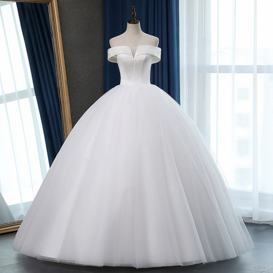 Glamorous Off-the-shoulder A-line Tulle Wedding Dresses White Ruffles Bridal Gowns On Sale_8