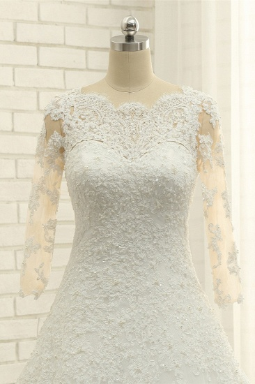 BMbridal Elegant A-Line Jewel White Tulle Lace Wedding Dress 3/4 Sleeves Appliques Bridal Gowns with Pearls_6