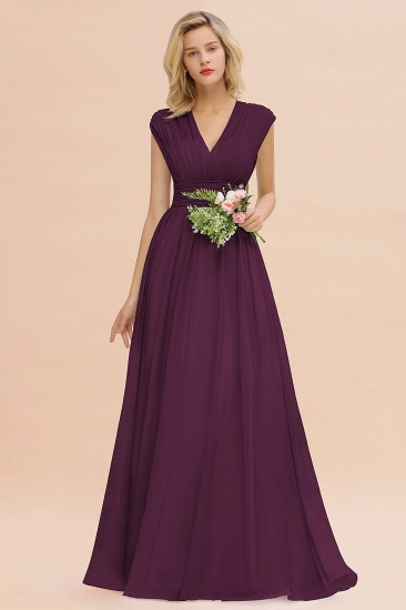 Elegant Chiffon V-Neck Ruffle Long Bridesmaid Dresses Affordable_20