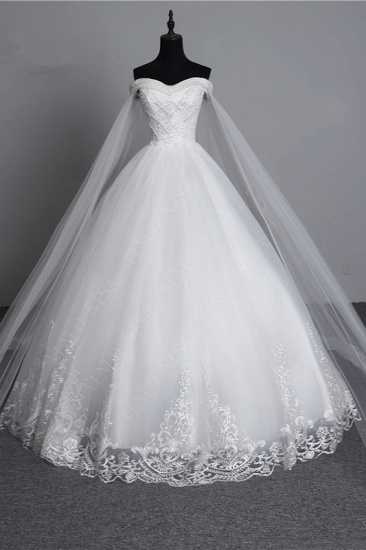 BMbridal Glamorous Strapless Sweetheart Tulle Wedding Dress Sleeveless Appliques Bridal Gowns with Rhinestones On Sale_1