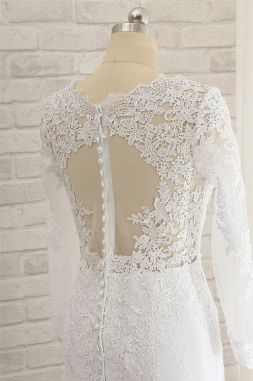 Stunning Jewel Long Sleeves Tulle Lace Wedding Dress Mermaid Jewel Appliques Bridal Gowns On Sale_5