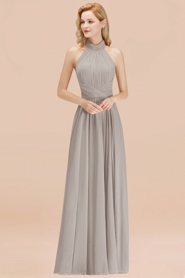 Gorgeous High-Neck Halter Backless Bridesmaid Dress Dusty Rose Chiffon Maid of Honor Dress_30