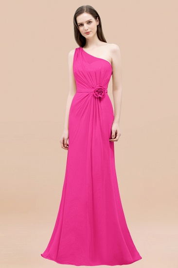Affordable Mermaid One shoulder Pink Bridesmaid Dresses with Flowers_9