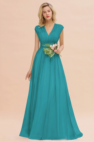 Elegant Chiffon V-Neck Ruffle Long Bridesmaid Dresses Affordable_32