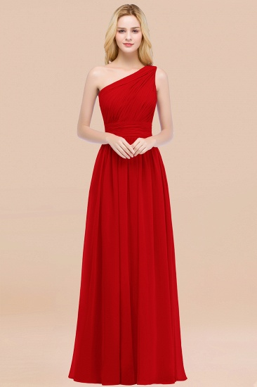 Chic One-shoulder Sleeveless Burgundy Chiffon Bridesmaid Dresses Online_8