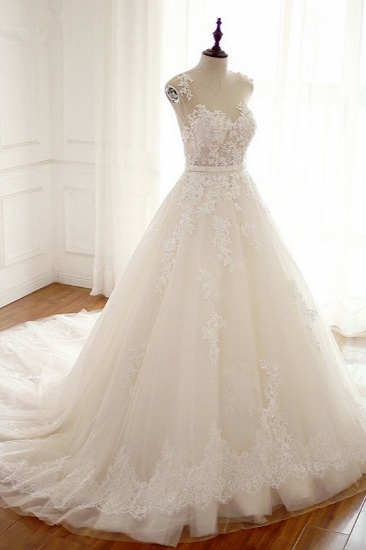 Stylish Jewel A-Line Tulle Ivory Wedding Dress Appliques Sleeveless Bridal Gowns with Beading Sash Online_4
