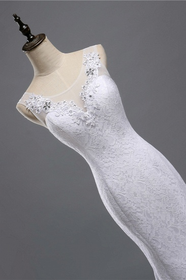 BMbridal Affordable Jewel Lace Sequins Mermaid Wedding Dress Sleeveless Appliques Bridal Gowns with Crystals_6