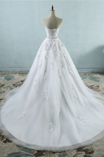 BMbridal Sexy Strapless Sweetheart Tulle Wedding Dress Sleeveless Appliques Bridal Gowns with Beadings Sash_3